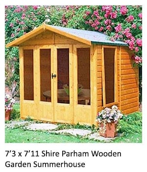 A 7'3 x 7'11 wooden summerhouse with an apex roof, French double doors and 4 full-length windows