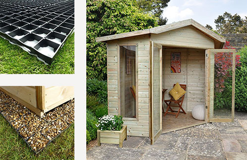 two images of plastic log cabin bases and a third of a corner summer house