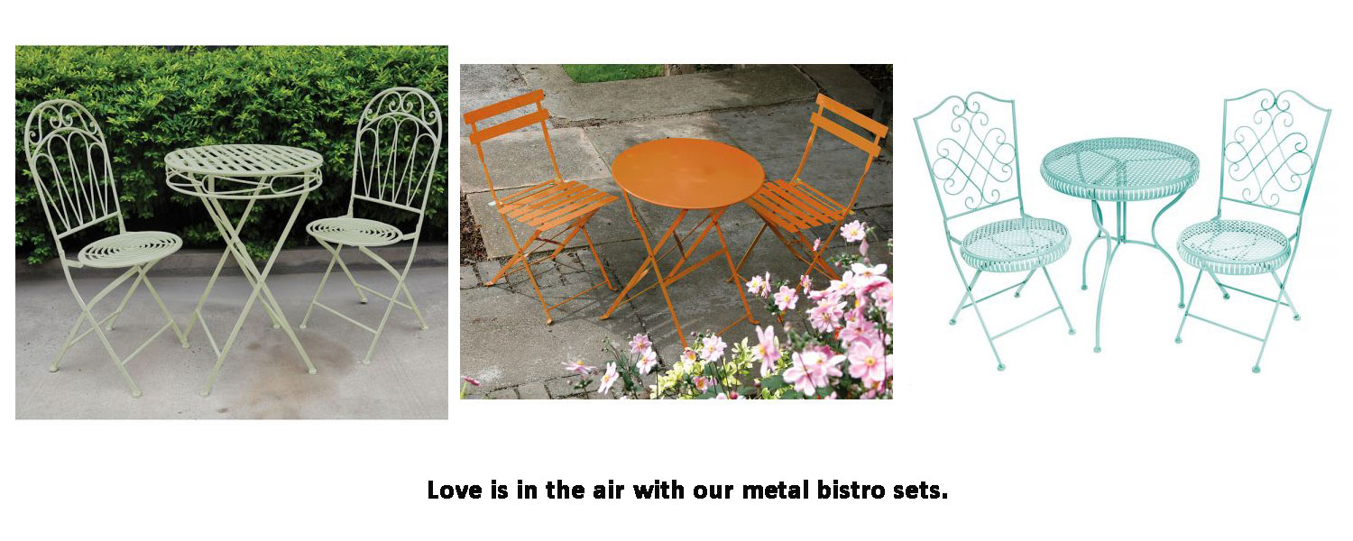 Love is in the air with our metal bistro sets